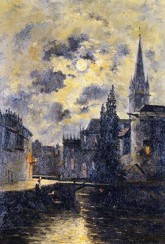 Stanislas Lepine A Moonlit Canal - Hand Painted Oil Painting