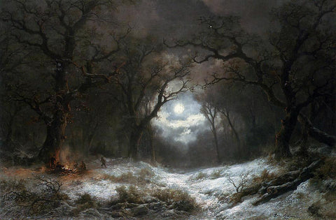 Remigius Adriannus Van Haanen A Moonlit Winter Landscape - Hand Painted Oil Painting