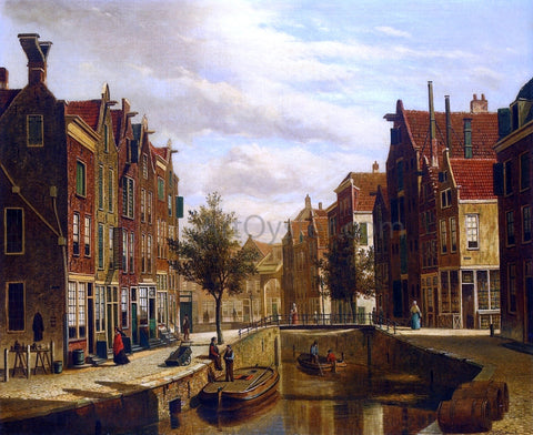 Willem Koekkoek A Morning Walk by a Dutch Canal - Hand Painted Oil Painting