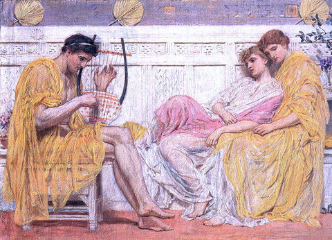Albert Joseph Moore A Musician - Hand Painted Oil Painting
