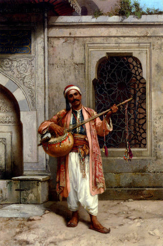 Stanislaus Von Chlebowski A Musician Playing Before A Mosque In Constantinople - Hand Painted Oil Painting