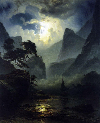 Knud Andreassen Baade A Norwegian Fjord by Moonlight - Hand Painted Oil Painting