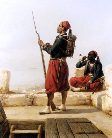 Niels Simonsen A Nubian and an Egyptian Guard in a Lookout Tower - Hand Painted Oil Painting