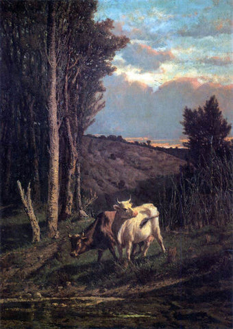 Serafino De Tivoli A Pasture - Hand Painted Oil Painting