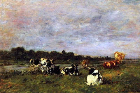 Eugene-Louis Boudin A Pasture on the Banks of the Touques - Hand Painted Oil Painting