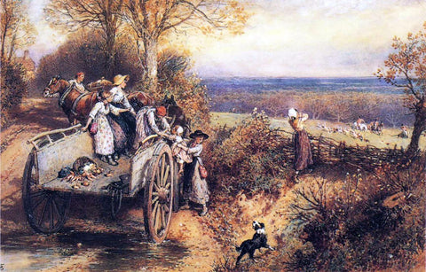 Myles Birket Foster A Peep at the Hounds, Here They Come! - Hand Painted Oil Painting