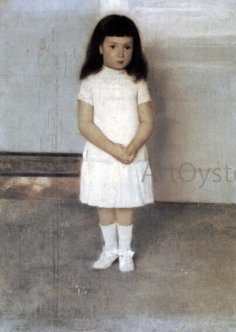 Fernand Khnopff A Portrait of a Standing Girl in White - Hand Painted Oil Painting