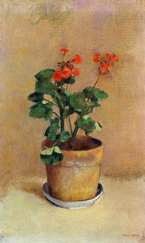 Odilon Redon A Pot of Geraniums - Hand Painted Oil Painting