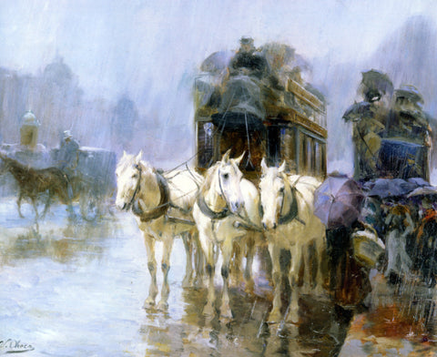 Ulpiano Checa Y Sanz A Rainy Day - Hand Painted Oil Painting
