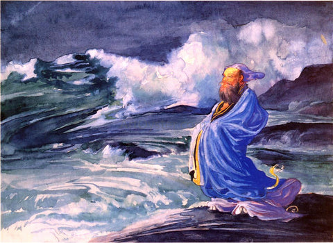 John La Farge A Rishi Calling up a Storm, Japanese Folk Lore - Hand Painted Oil Painting