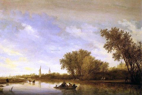 Salomon Van Ruysdael A River Landscape with Boats and Chateau - Hand Painted Oil Painting