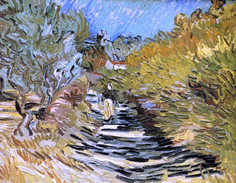 Vincent Van Gogh Road at Saint-Remy with Female Figures - Hand Painted Oil Painting