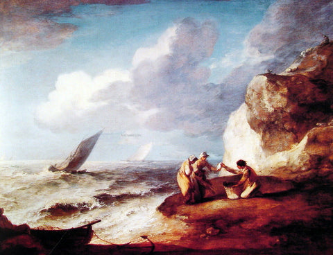 Thomas Gainsborough A Rocky Coastal Scene - Hand Painted Oil Painting