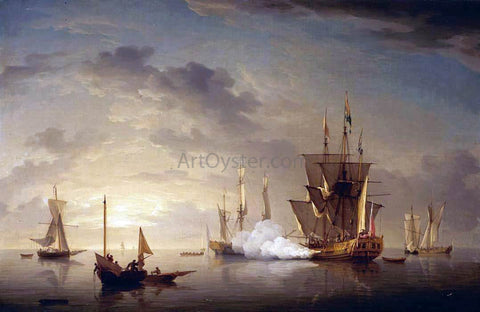 Charles Brooking A Royal Yacht Firing a Salute - Hand Painted Oil Painting