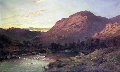 Senior. Alfred De Breanski A Salmon River in Scotland - Hand Painted Oil Painting