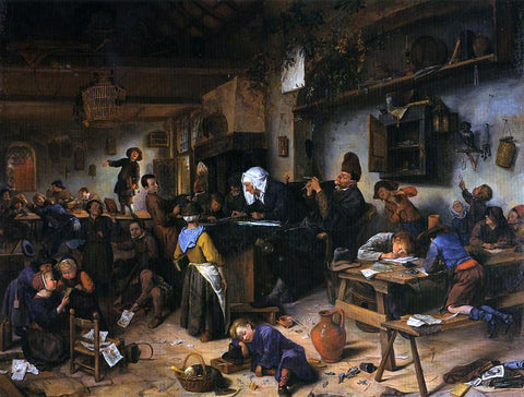 Jan Steen A School for Boys and Girls - Hand Painted Oil Painting