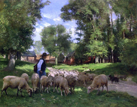 Julien Dupre A Shepherd and His Flock - Hand Painted Oil Painting
