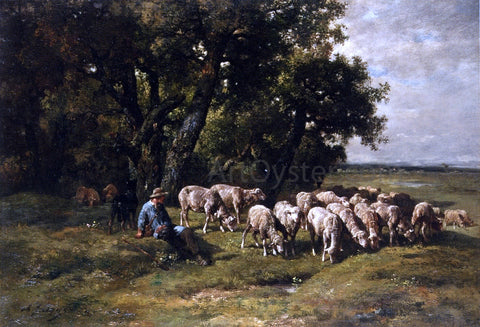 Charles Emile Jacque A Shepherd with His Flock - Hand Painted Oil Painting