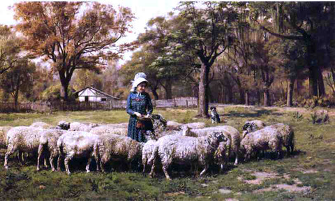 John Martin Tracy A Shepherdess - Hand Painted Oil Painting