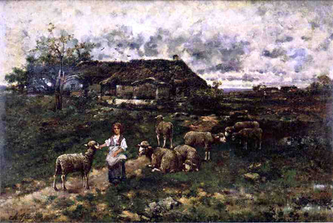Charles Emile Jacque A Shepherdess and Her Flock - Hand Painted Oil Painting