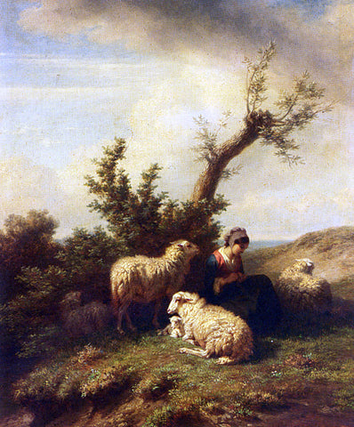 Edmond Baptiste Tschaggeny A Shepherdess and Her Flock - Hand Painted Oil Painting