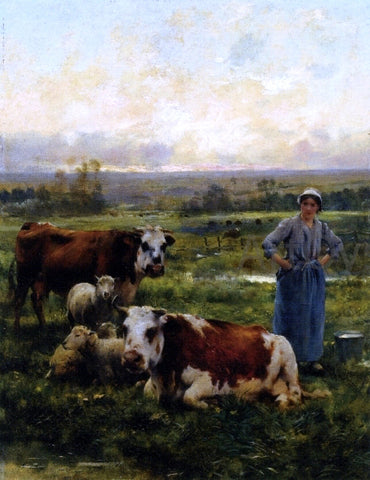 Julien Dupre A Shepherdess with Cows and Sheep in a Landscape - Hand Painted Oil Painting