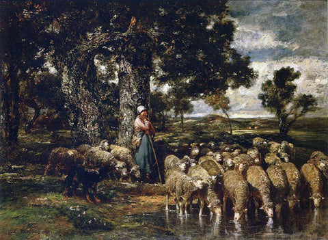 Charles Emile Jacque A Shepherdess with Her Flock - Hand Painted Oil Painting