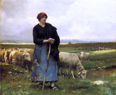 Julien Dupre A Shepherdess with her Flock - Hand Painted Oil Painting