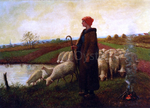Aime Perret A Shepherdess with her Flock - Hand Painted Oil Painting