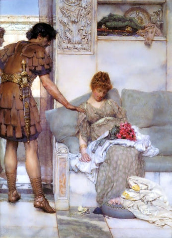 Sir Lawrence Alma-Tadema A Silent Greeting - Hand Painted Oil Painting