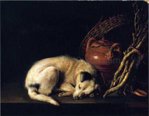 Gerrit Dou A Sleeping Dog Beside a Terracotta Jug, a Basket, and a Pile of Kindling Wood - Hand Painted Oil Painting