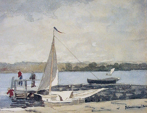 Winslow Homer A Sloop at a Wharf, Gloucester - Hand Painted Oil Painting
