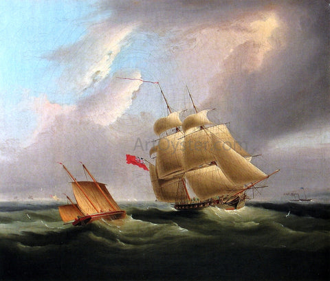 James E Buttersworth A Sloop-of-War - Hand Painted Oil Painting
