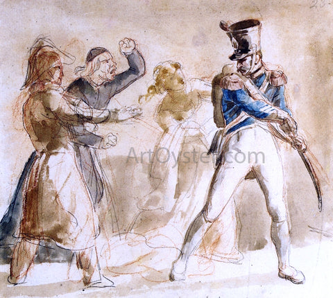 Theodore Gericault A Soldier Berated by a Priest - Hand Painted Oil Painting