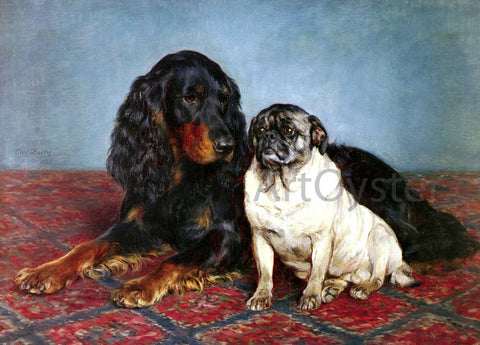 Otto Bache A Spaniel And A Pug - Hand Painted Oil Painting