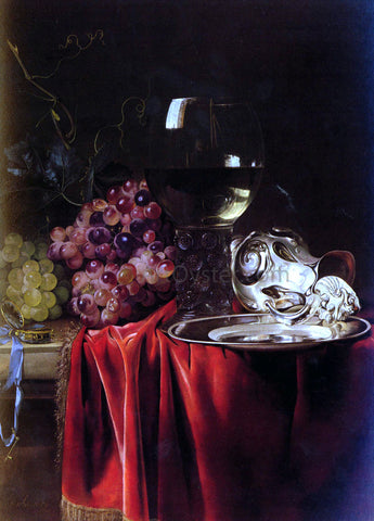 Willem Van Aelst A Still Life of Grapes, a Roemer, a Silver Ewer and a Plate - Hand Painted Oil Painting