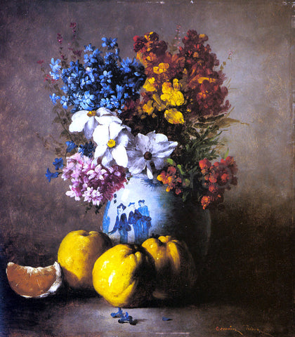 Germain Clement Ribot A Still Life with a Vase of Flowers and Fruit - Hand Painted Oil Painting