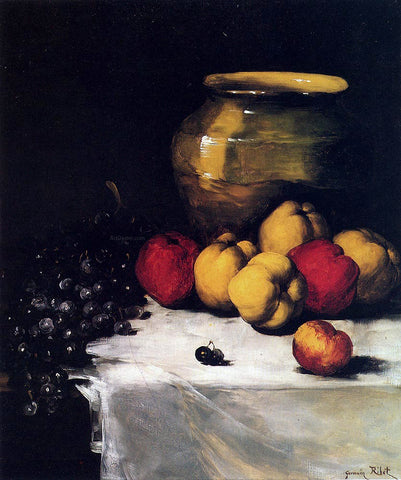 Germain Clement Ribot A Still Life With Apples and Grapes - Hand Painted Oil Painting