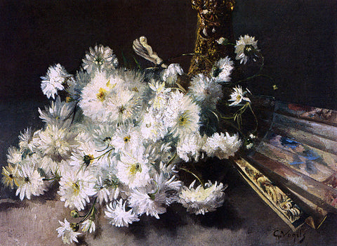 Guillaume Vogels A Still Life With Chrysanthemums And A Fan - Hand Painted Oil Painting