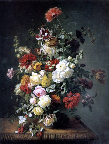 Simon Saint-Jean A Still life with Flowers and Wild Raspberries - Hand Painted Oil Painting