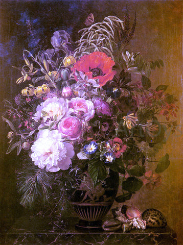 Johan Laurentz Jensen A Still Life with Flowers in a Greek Vase - Hand Painted Oil Painting