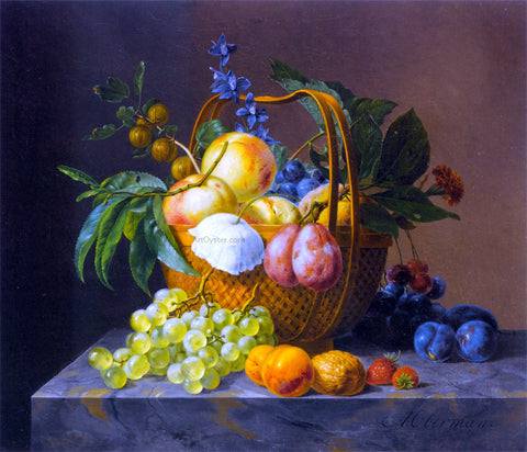 Anthony Oberman A Still Life With Fruit and Flowers in a Basket - Hand Painted Oil Painting