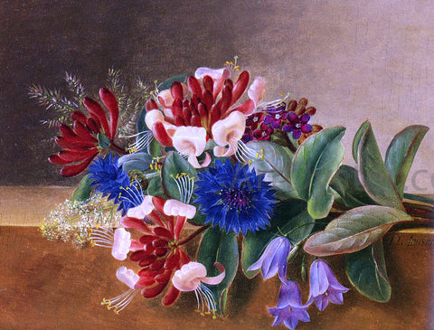Johan Laurentz Jensen A Still Life with Honeysuckle, Blue Cornflowers and Bluebells on a Marble Ledge - Hand Painted Oil Painting