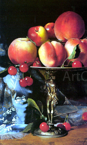 Blaise Alexandre Desgoffe A Still Life with Peaches, Plums and Cherries - Hand Painted Oil Painting