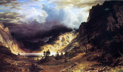 Albert Bierstadt A Storm in the Rocky Mountains - Hand Painted Oil Painting