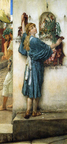 Sir Lawrence Alma-Tadema A Street Altar - Hand Painted Oil Painting