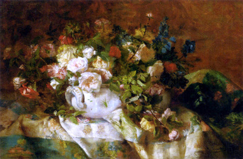 Eugene Henri Cauchois A Summer Bouquet - Hand Painted Oil Painting