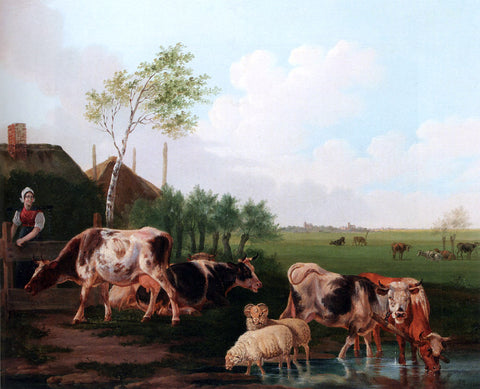 Albertus Verhoesen A Summer Landscape With Cows And Sheep By A Pool And A Milkmaid Watching - Hand Painted Oil Painting