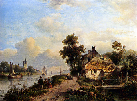 Lodewijk Johannes Kleijn A Summer Landscape With Figures Along A Waterway - Hand Painted Oil Painting