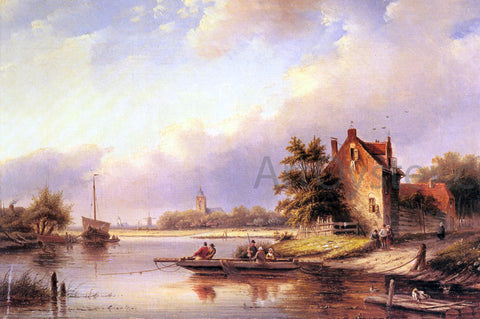 Jan Coenraad Spohler A Summer's Day at the Ferry Crossing - Hand Painted Oil Painting